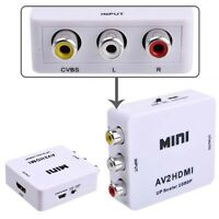 Composite AV CVBS 3RCA to HDMI Video Converter Adapter 720p 1080p Upscaler MTC