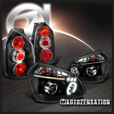 Fit Hyundai 05-09 Tucson Black LED Halo Projector Headlights+Rear Tail Lamps