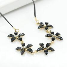 Luxury Women Five Petal Crystal Flower Choker Bib Chain Statement Long Necklace