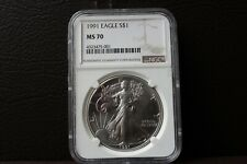 1991 Silver Eagle MS 70 Very Rare Coin! Only 605 Have Been Graded MS70 by NGC