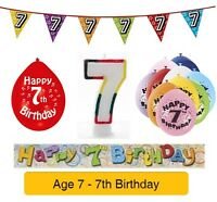 AGE 7 - Happy 7th Birthday Party Balloons, Banners & Decorations epp