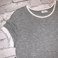 VINCE Women's Size Medium M Heather Grey White Cuffed Sleeve Crew Neck Tee Shirt