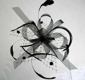 Black Looped Net Mesh and Feather Fascinator with Comb Fitting