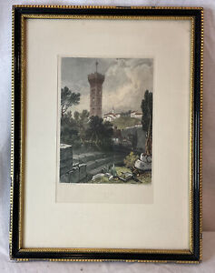 ANTIQUE ENGRAVING FIESOLE ITALY HARDING RADDYFFE FRAME PRINT PICTURE VINTAGE ART