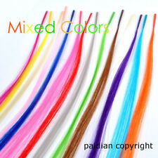 Lot Colorful Synthetic I tip Feather Hair Extensions + Free Micro Beads + Hook