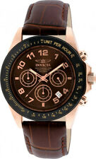 Invicta Men's Speedway Chrono 200m Rose Gold-Plated S. Steel Leather Watch 10712