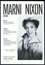 1962 Marni Nixon photo singing gig booking vintage print ad