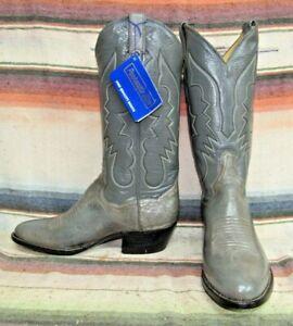 Vintage Panhandle Slim Gray Ostrich / Leather Cowboy Boots 7 D / 8.5 M NIB