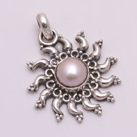925 Solid Sterling Silver Pendant, Natural Pearl Gemstone Handmade Jewelry P640