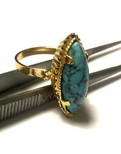 .750 18K YELLOW GOLD NATURAL BLUE MARQUISE TURQUOISE CUSTOM LADIES RING Sz 6