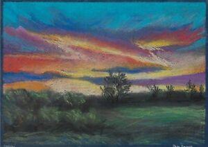 original drawing A4 105DmO art samovar Realism pastel landscape sunset Signed