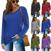 Women V Neck Long Sleeve Tops Ladies Casual Loose Jumpers Pullover Blouse