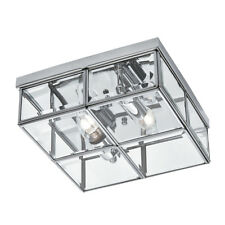 Searchlight 6769-26CC Chrome 2 Light Flush Fitting With Clear Glass Shade