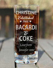 Personalised Engraved Boxed Bacardi & Coke Glass Birthday Xmas Gift Est. Heart