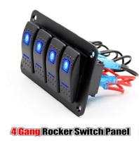 4 Gang Rocker Switch Panel LED Light For Car Marine Boat RV Waterproof 12V