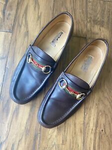 Vintage 70's Gucci Mens Brown Leather Horsebit Loafers Sz 43.5