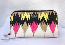 NWT Coach Crossgrain Leather Hawk Feather Printed Cosmetic Clutch Bag 53219