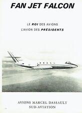 Publicité Advertising  0817 1967  Avions M.Dassault Sud aviation  Fan Jet Falcon