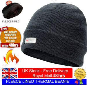 Mens Black Winter Beanie Hat 3M Thinsulate Thermal Fleece Lined Fine Knitted Cap