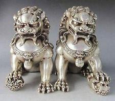 Rare Tibet Silver Fu Foo Dog Guardian lion Bronze Statue Pair 15cm