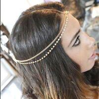 Rhinestone Bridal Jewelry Hair Band Metal Head Chain Headband Multi-layer