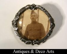 Continental Silver Art Nouveau Brooch with WW1 Photo of Soldier