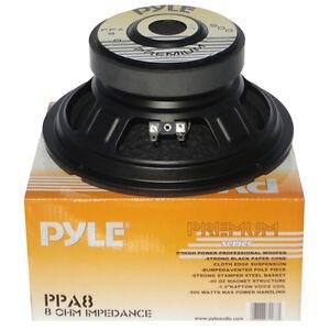 MEDIO BASSO 20,0 CM PYLE PPA8 PPA 200 WATT RMS 200 MM NERO 8 OHM CASSE ACUSTICHE