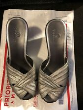 "Sandals, COLE HAAN, Silver leather peek a boo toe, 3"" wedge,   SZ: 8B"