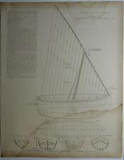 Espagne Côte de Catalogne bateau de pêche  planche XX e 1910/SMB15