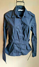 Black Moschino Jeans Military Top Button Front Sz 10 Missing One Cuff Button