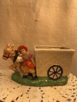 Vtg 1940's Japan Luster Ware Girl Donkey Flower Cart Planter Vase Q-TIP HOLDER