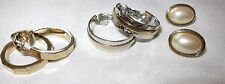 Vintage Avon Set Gold & Hammered Silver Plated Hoop Faux Pearls Earrings Clip
