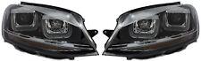 Si adatta VW Golf MK7 LHD Destro Sinistra PROIETTORE FARO SET NERO DOUBLE U DRL LED R