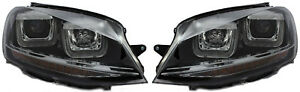 LHD Right Left Projector Headlight Set Black Double U DRL LED R-Line For VW