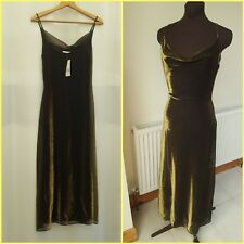 Ladies Long Gold Christmas Dress New! Size 12 Shiny Evening Party Cruise
