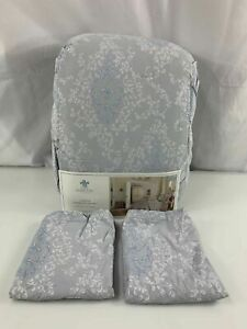 Simply Shabby Chic Queen Full Damask Chandelier Grey Blue Comforter Set 3 Pc