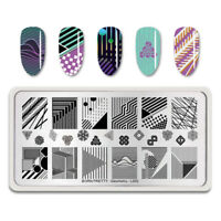 BORN PRETTY Nail Art Stamping Platten Stainless Steel Line Design Geometry L002