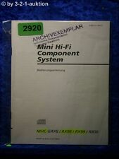 Sony Bedienungsanleitung MHC GRX8 /RX8 /RX99 /R800 Component System (#2920)