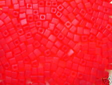 Beadshine Japanese Miyuki 4MM Square Transparent Frosted Red Glass Cube Beads