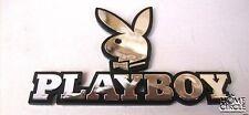 3d Playboy Bunny Head Shinny Sliver Black Chrome Emblem Badge for Automobiles.