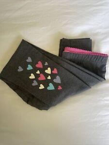 Hatley Girls Gray Leggings With Heart Detail Size 10
