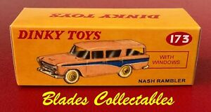 DINKY TOY 173 REPRO BOX NASH RAMBLER Salmon Pink/Blue by Blades Collectables