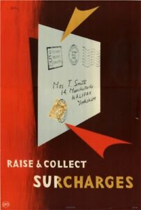 1950's GPO Internal Information Poster I.R.P 106 - RAISE & COLLECT….POSTAGE DUE