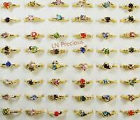 80pcs Gold Color Plated Rings Rhinestone Fashion Wholesale Jewelry Lots MixedYFP