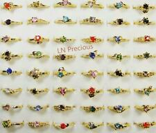 100pcs wholesale Jewelry lot rhinestone gold color Plated Rings free shipping