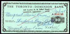Toronto Dominion Bank   '$10 Travellers Cheque' Intaglio 1963