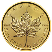 2018 $20 Gold Canadian Maple Leaf .9999 1/2 oz Brilliant Uncirculated
