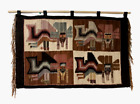 Hand Woven Navajo Wall Hanging Wool Tapestry Fringed Mat Native Figures