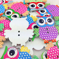 NE_ AU_ BH_ 10 Pcs Mixed Owl Pattern Wooden Buttons Sewing Scrapbook Craft DIY D