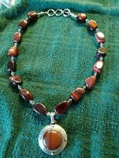 Tiger Eye Statement Necklace .925 Silver